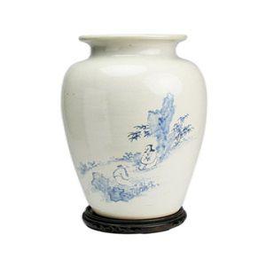 京焼染付人物漢詩文花瓶