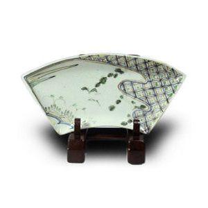 磁器古九谷色絵鳥文扇型皿