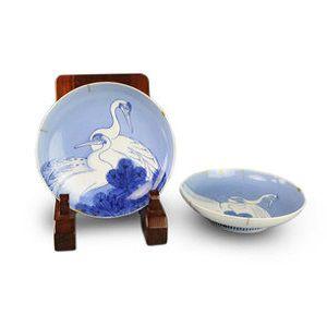 藍鍋島双鶴文皿二枚鍋島焼磁器
