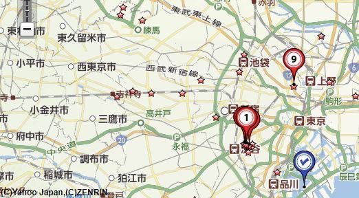 東京骨董買取比較地図画像